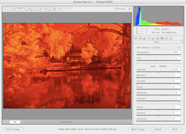 Infrared photography with the Pentax K200D digital camera